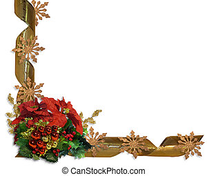 Christmas border flowers and ribbon - Image and illustration...