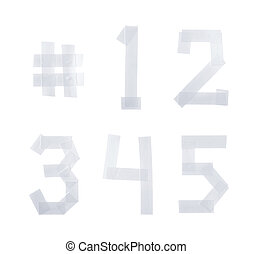 Set of numbers made of insulating tape - Set of five numbers...