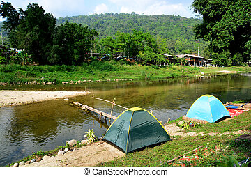 Tourist tent in camp in watercourse