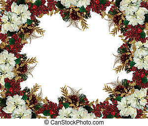 Christmas border flowers - Image and illustration...
