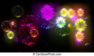 4K big beatiful firework at holiday night. 3d animation with different versions fireckrackers. version 13