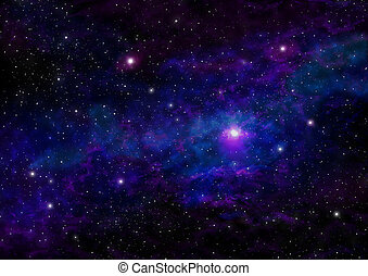 Night Sky with Stars and Purple Blue Nebula. Space Background.