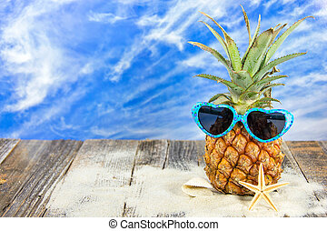 pineapple in sunglasses and sand - pineapple wearing heart...