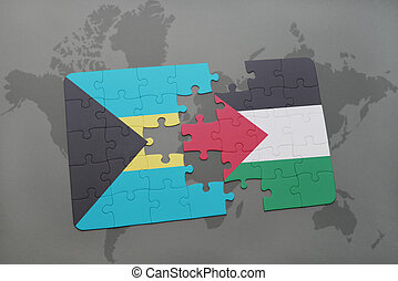 puzzle with the national flag of bahamas and palestine on a...