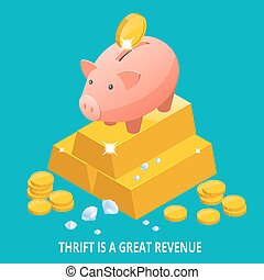 Isometric Piggy bank, gold bullion, diamond and coins icon....