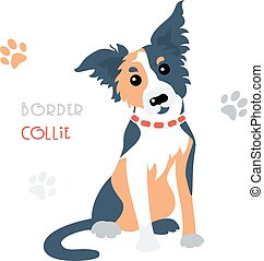 Vector funny Border Collie tricoloured dog sitting - Cute...