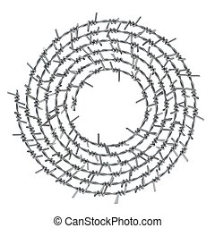 Spiral barbed wire front view 3D