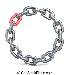 Circle chain with one red link 3D
