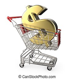 Red shopping cart with golden dollar currency sign 3D