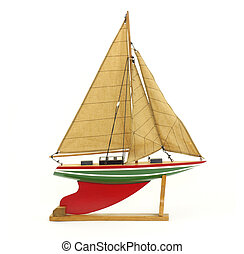 Sailboat on stand - A model of a sailboat on a wood stand