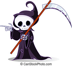 Cartoon grim reaper pointing - Cute cartoon grim reaper with...