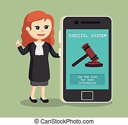 judge woman with judicial system in smartphone