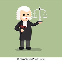 fat judge with gavel and scale