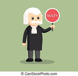 fat judge with guilty sign