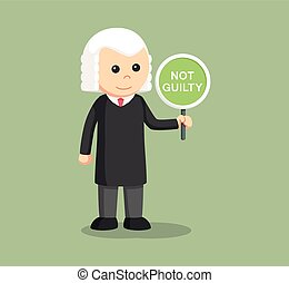 judge with not guilty sign