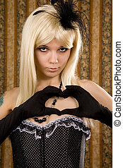 Attractive woman in polka dot corset