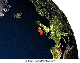 Ireland from space - Ireland highlighted in red on model of...