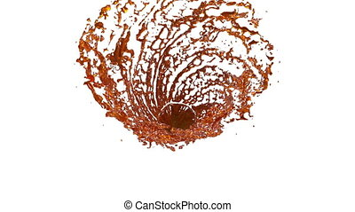 Orange Liquid tornado. Beautiful colored juice of whirl. Isolated transparent vortex of liquid like whirlwind 3d animation with alpha matte. Version 5
