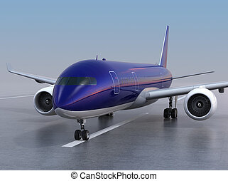 Passenger airplane taxiing on the runway. 3D rendering...