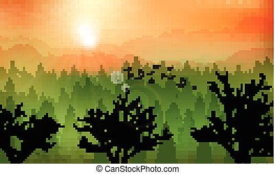 Mountain forest background at sunset