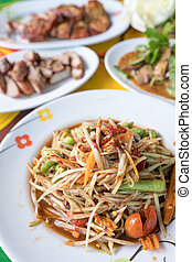 Som tam, Spicy papaya salad - Traditional food, Som tam,...