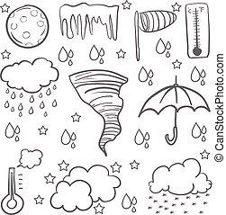 いたずら書き, 天候, 傘, 雲, 雨