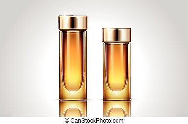 cosmetic essence bottle - two glass cosmetic essence...