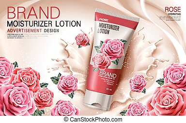 rose moisturizer lotion - moisturizer lotion ad with rose...