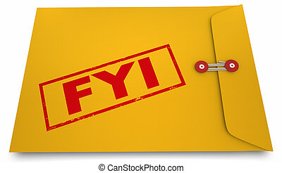 For Your Information FYI Yellow Envelope 3d Illustration