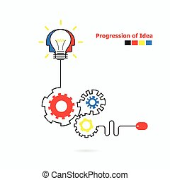Creative light bulb symbol with linear of gear shape....