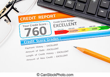 Credit score report. - Credit score report with calculator,...