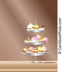 cakes - an illustration of confectionery cakes on metal...