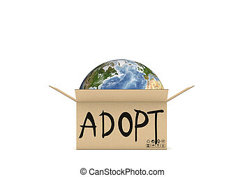 3d rendering of globe in the cardboard open box with an inscription saying adopt on white background
