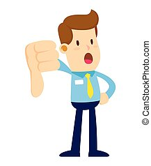 Businessman Doing Thumbs Down Hand Sign - Vector stock of a...