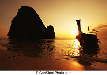 Beautiful sunset on the beach in Krabi, Thailand
