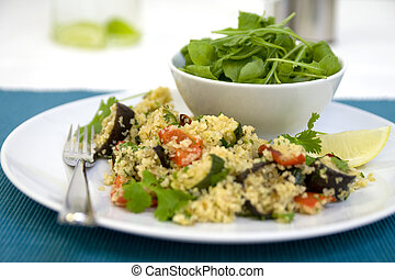 Salad and cous cous with roasted ve - Beautifully presented...