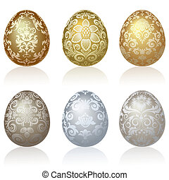 Easter eggs - Set of six Easter eggs with  ornaments