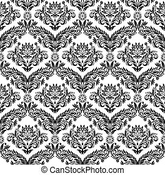 Damask pattern - Seamless from leaves and flowers on black...