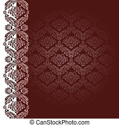 Claret background with flowers and leaves