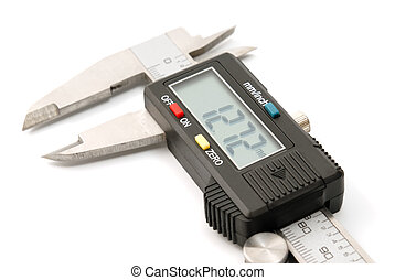 Electronic digital caliper isolated on white background The...
