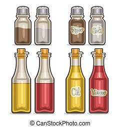 Vector illustration Set glass Shakers for salt and pepper,...