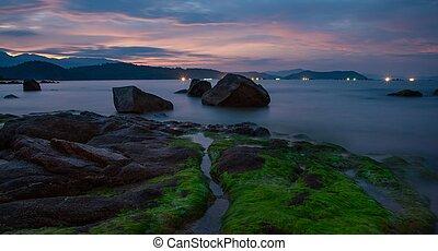 Shrimp Farming By Night Vung Lam Bay Vietnam - Lights of...