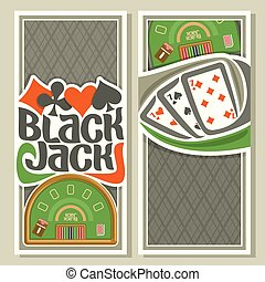 Vector vertical banners of Black Jack for text: combination...