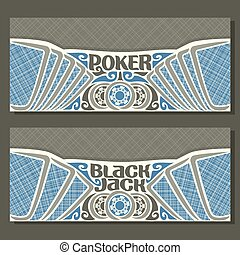 Vector horizontal banners for Black Jack and Poker: playing...