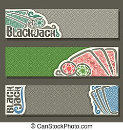 Vector horizontal Banner of Black Jack for text, blue...
