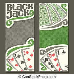 Vector vertical banners Black Jack for text, combination...