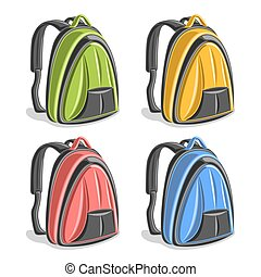 Vector set colorful hiking Backpacks, green simple laptop...