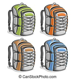 Vector set colorful touristic Backpacks, green simple travel...