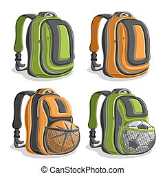 Vector set icons sports Backpacks, green boys college back...