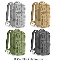 Vector set Military Backpacks, gray Army rucksack with...